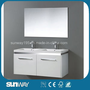 New Hot Double Sinks Sale MDF Bathroom Cabinet with Mirror Cabinet Sw-1504 pictures & photos