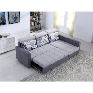 Small L Shaped Fabric Sofa with Sofa Bed Function