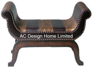 Marvelous Antique Vintage Pu Leather Wooden U Shape Bench Chair Onthecornerstone Fun Painted Chair Ideas Images Onthecornerstoneorg