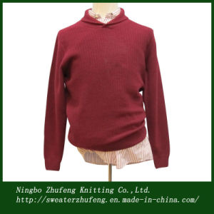 Men′s Shawl Neck Jacquard Pullover Sweater NBZF0060