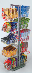 Double Sides Wire Basket for Snacks / Flooring Metal Display Rack