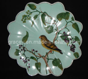 Elegant Ceramic Hand Painted Edge Meat Plate, Meet Both Practical and Decorative Purpose (2CG4473)
