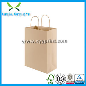 Custom Logo Print Brown Kraft Paper Bag with Ribbon pictures & photos