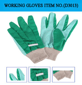 Rubber Dots Palm with Drill Cotton Fabric Working Gloves (D3013)