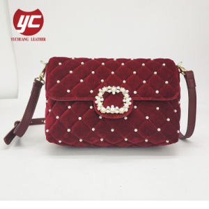 7d1419b036b2 Newest 2019 Winter Fashion Ladies Velvet Quilted Messenger Crossbody Bag  with Beads