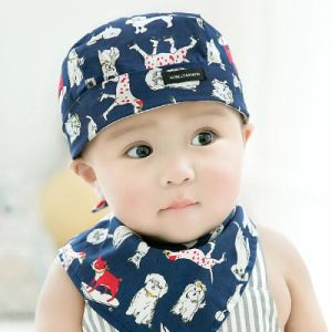 6b14414318c Lovely Baby Animal Ears Design Cotton Beanie Sleeping Hat with Triangle  Scarf Sets