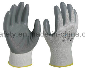 Nylon Knitted Working Gloves with Colorful Nitrile Coated on Paml (N1569C) pictures & photos