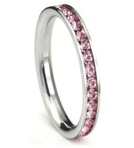 Summer Fashion Pink Charm Stainless Steel Rhinestone Women Weedig Ring Jewelry