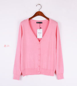 Women′s V-Neck Thin Cardigan Sweater Coat for Summer Anti-Sunborn 1566