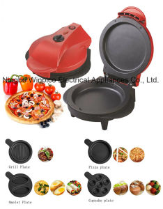 Mini Electric Pizza Maker with Detachable Grill, Pizza, Omelet, Cupcake Plates