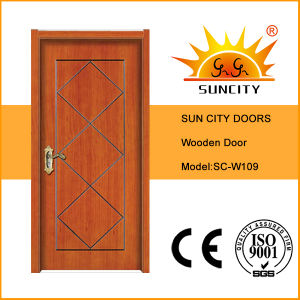 Cherry Wood Flush Design Cheap Wooden Door (SC-W109) pictures & photos