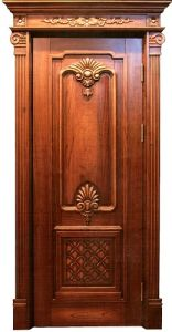 Luxury Exterior Doors Solid Wood Main Door Wood Carving Design Double Door  For Apartment
