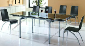 Tempered Glass Chrome Plated Iron Tube Dining Table (ST-5191)