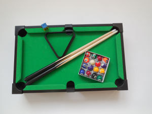 Mini Tabletop Pool Table Wood Billiards Set W/ Accessories (LL C038 1