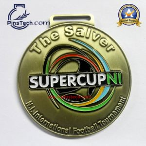 Custom Football Tournament Medal with Antique Gold Finish