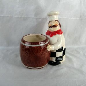 Hand-Painted Ceramic Chef with Utensil Holder pictures & photos