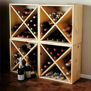 China Wood Modular Stackable 12 Bottle Wine Rack Cube Counter Top