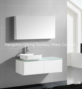 Simple Style PVC Vanity with Glass Worktop and Mirror Cabinet pictures & photos