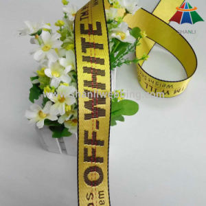 35mm off White Logo Jacquard Polyester Webbing Have in Stock pictures & photos