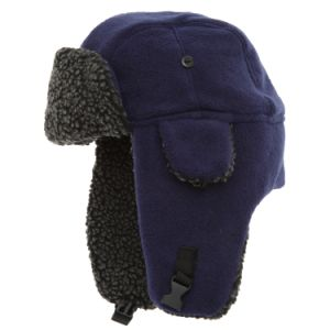 Navy Wool Trapper Hat