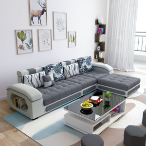 Strange L Shape Grey Color Sectional Fabric Couch Chaise Lounge S889 Machost Co Dining Chair Design Ideas Machostcouk