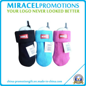 Polyester Cell Phone Sock with PVC Patch (NH-606)