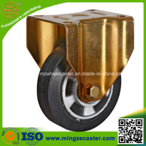 Yellow Zinc Plated Fixed Rubber Caster Wheels pictures & photos