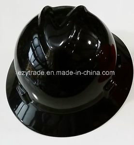 Safety Helmet Full Brim V Style with 4 Points Ratchet Harness Ce En397