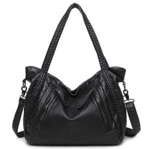 d7e5ef71ced China Factory Customized Washed Water PU Leather Weave Tote Ladies ...