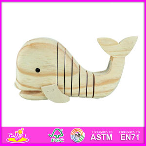 2015 New Kids 3D DIY Wooden Paint Toy, Popular Blue Whale Style Child Wooden Paint Toy, Educational Baby Wooden Paint Toy W03A021 pictures & photos