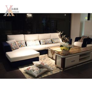 Blue and White Fabric Modern Sofa with Cushion (805B)
