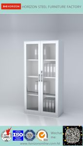 Steel High Storage Cabinet Office Furniture with Double Swinging Steel Framed Glass Doors and Replaceable Lock/File Cabinet