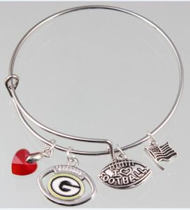 China Newest Adjule Whole Nfl Green Bay Packer Charms Bangle Enamel Bracelets For Fans