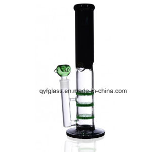 Mixed Color Water Pipe Glass Smoking Pipe with Triple Honeycomb Disks #2232