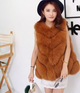2015 Fashion Jacket Style Sleeveless Real Fox Fur Vest Women