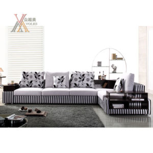Stripe Pattern Fabric Sofa With End Table 9073a
