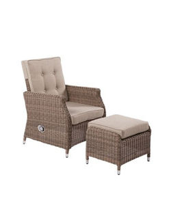 Outdoor Garden Rattan Wicker Furniture Sofa Set Chair With Footrest