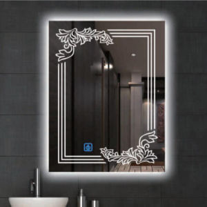 Silver Modern High Quality   Wall Mounted Glass Mirror Lighted LED Bathroom Illuminated Home Mirror