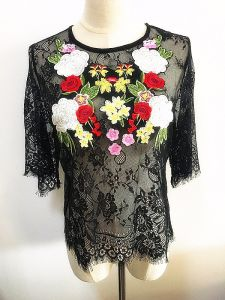 Fashion Clothes Embroidery Tops Women Lace Garment