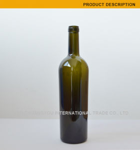 Heavy Weight 960g 750ml Taper Glass Bottle with Cork Finish Top (634) pictures & photos