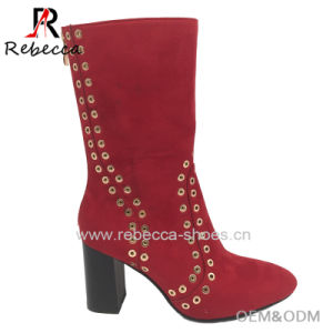 Women Soft Leather Ankle Boots Block Heel Rivet Decorated Leisure Casual Shoes