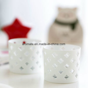 Hollowed White Cylinder Ceramic Candle Holder (CC-07)