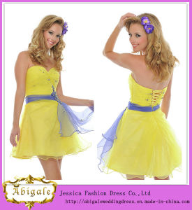 Cute Hot Short Mini Organza Sash Beaded Sequins Sweetheart Sleeveless Cheap Yellow Cocktail Dresses Yj0084