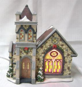 Christmas Houses Village.Porcelain Lighted Christmas Village Church
