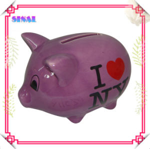 Purple Ceramic Souvenir Piggy Money Box with Decal