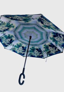 Chinese Element Printed C Shape Handle Reverse Upside Down Umbrella (MP6019A)