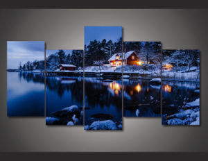 HD Printed Snow Lake Scenery 5 Pieces Group Painting Room Decor Print Poster Picture Canvas Mc-106 pictures & photos