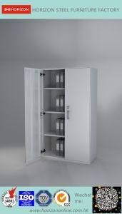 Steel High Storage Cabinet with Upper and Lower Steel Framed Swinging Glass Doors