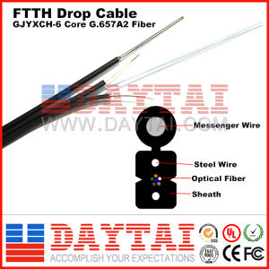FTTH Gjyxch 6 Core G. 657A2 Drop Cable with Messenger pictures & photos