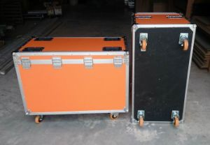 Orange LED Light Case with Duty Heavy Casters